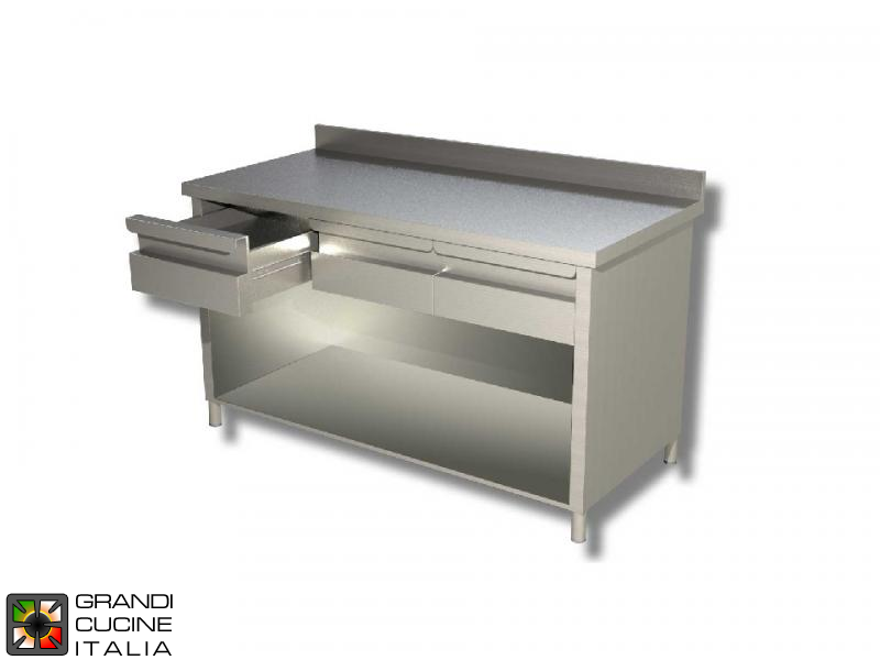Stainless Steel Open Cabinet Work Table With Shelf And Drawers   Aisi 430    Length 200 Cm   Width 70 Cm   With Backsplash   4 Drawers
