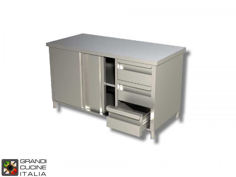 Banchi Da Lavoro Acciaio Per Cucina : Tavolo da lavoro in acciaio inox con doppio ripiano aisi 430