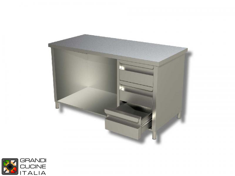 Stainless Steel Cabinet Work Table With Sliding Doors And Right Side