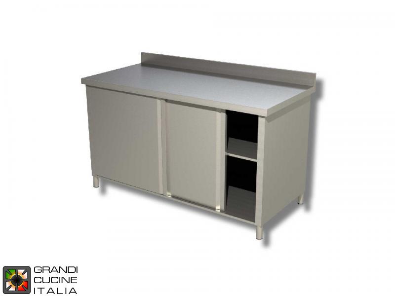 Table armoire de travail en acier inoxydable avec portes à coulisse on