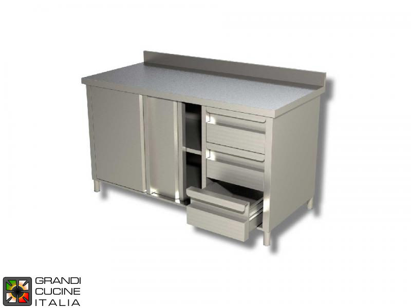 Stainless Steel Cabinet Work Table With Sliding Doors And Right Side - Stainless steel work table with drawers