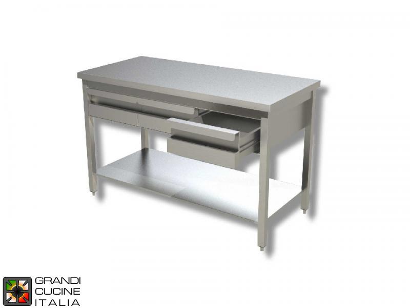 Tavolo Da Lavoro In Acciaio Inox Con Ripiano E Cassetti Sottobanco