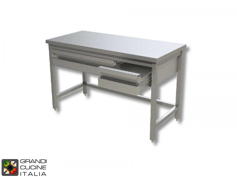 Stainless Steel Work Table With Frame And Table Drawers Aisi - Stainless steel work table with drawers