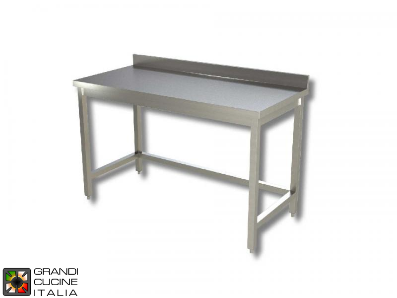 Stainless Steel Work Table With Frame Aisi Length Cm - Stainless steel work table with backsplash