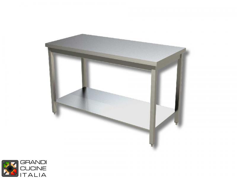 Tavolo da lavoro in acciaio inox con ripiano aisi 304 larghezza 50 cm profondit 60 cm - Tavolo profondita 60 cm ...