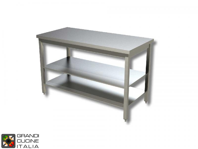 Stainless Steel Work Table With Two Shelves Aisi Length - Stainless steel work table with shelves