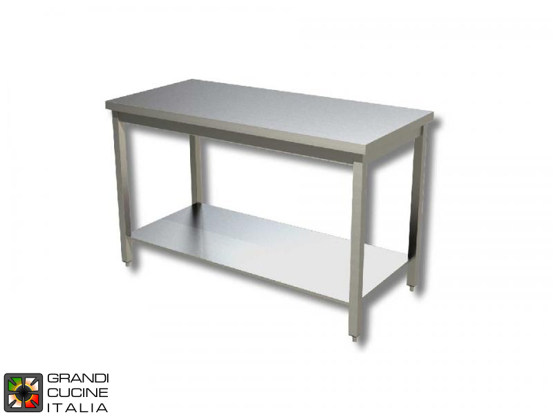 Stainless steel work table with frame - aisi 304 - length 130 cm ...