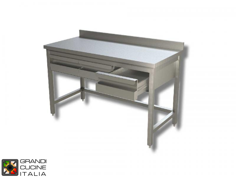 Stainless Steel Cabinet Work Table With Sliding Doors And Right Side - Stainless steel table with backsplash and sides