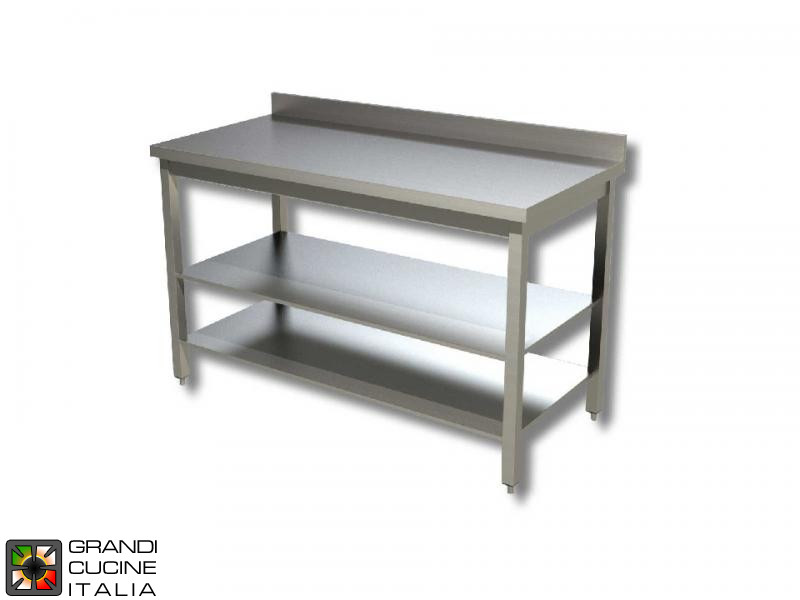 Stainless Steel Work Table With Two Shelves Aisi Length - Stainless steel work table with backsplash