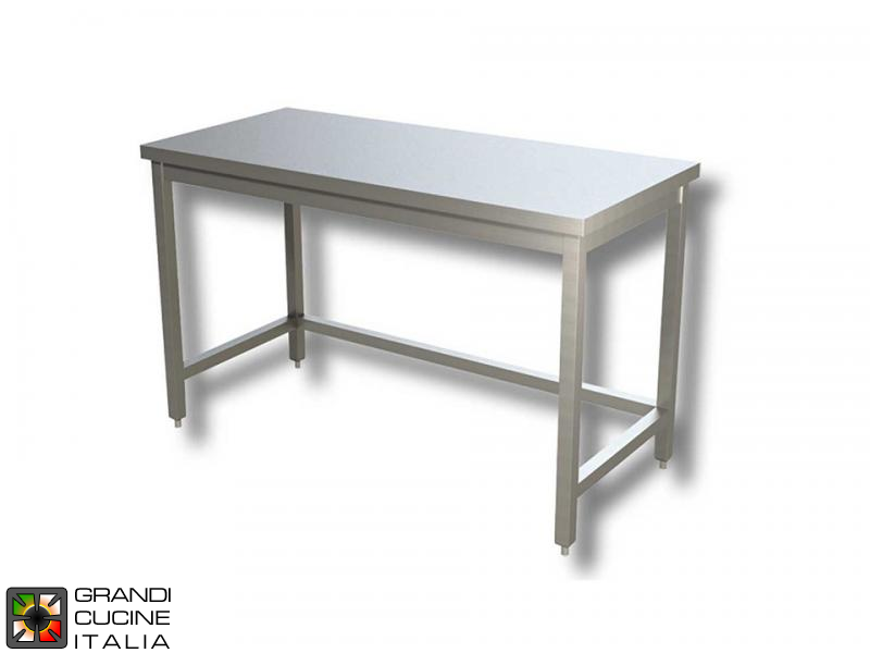 Stainless steel work table with frame - aisi 430 - length 100 cm ...